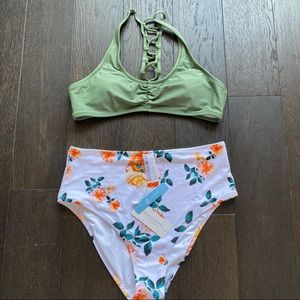 Cupshe Bikini Set Floral Bottoms and Racerback Top